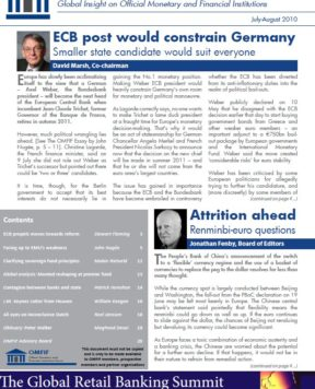 July/August 2010: Economic clouds gather